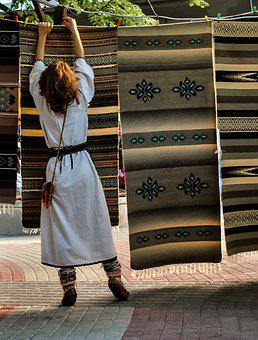 Woman, Hanging, Bulgaria, Carpet, Tradition, Clothes