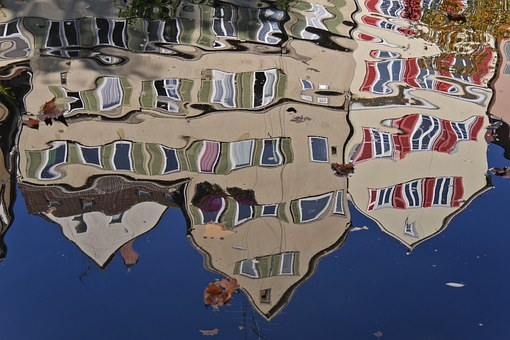 Tübingen, Mirroring, Distortion, Water, Homes