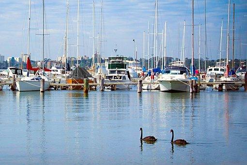 Matilda Bay Wa Right, Boats, Blue, Reflections, Water
