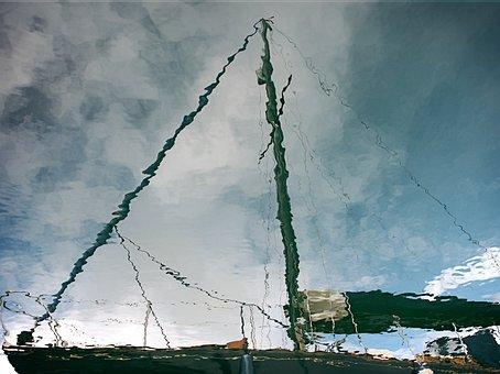 Yacht, Sailboat, Reflection, Water, Rigging, Ripples