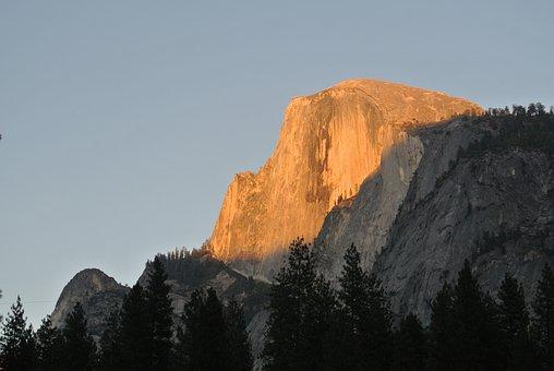 Yosemite, Half Dome, Sunset, National Park, Landscape