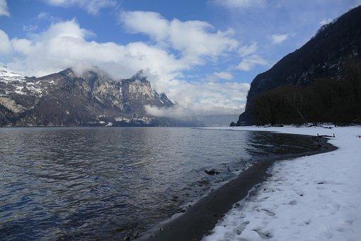 Lake, Lake Walen, Churfirsten, Landscape, Water, Nature