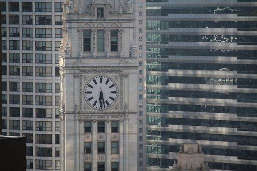Chicago, Wrigley, Clock, City, Skyscraper, Illinois