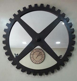 Wheel, Kitchen, Clock, Metal, Iron