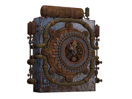 Clock, Old Clock, Steampunk, Machine, Pipes, Metal
