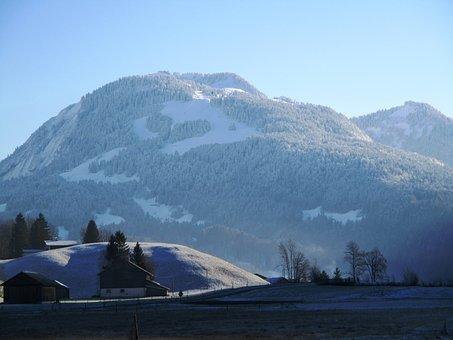 Mountains, Nature, Bad Reuthe, Vorarlberg, Winter, Snow