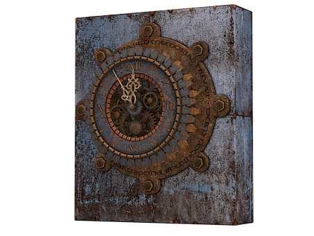 Clock, Old Clock, Steampunk, Metal, Iron, Isolated