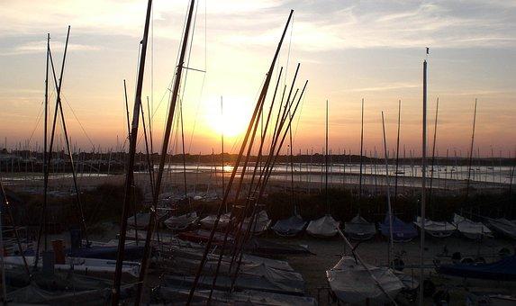 Hayling Island, Sailing Club, Boats, Sunset, Sea, Club