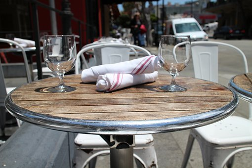 Restaurant, Table, Café, Sidewalk, Dining, Dinner