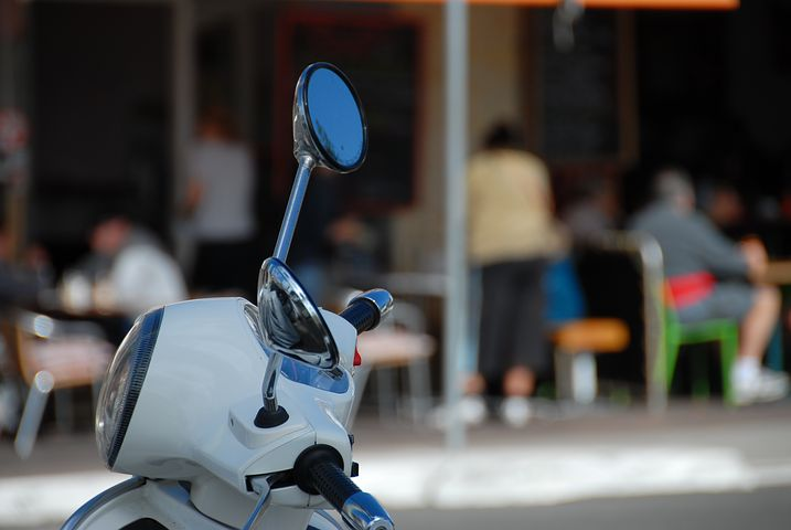 Scooter, Mirror, Cafe, Street, Transportation, Vehicle