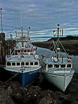 Fisher, Boats, Water, Shoreline, Lobster, Dusk