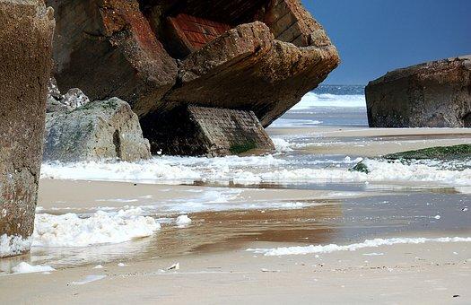 Capbreton, Sea, Beach, Bunker, France, French Coast