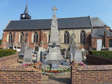 Bavinchove, War Memorial, France, Monument, Church