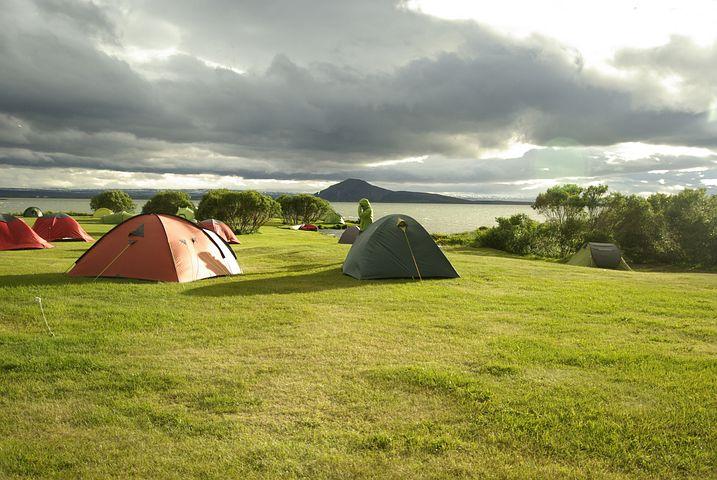 Iceland, Lake Myvatn, Camping