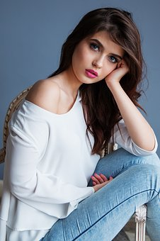 Girl, Beauty, Dark Hair, Lips, Big Eyes, Jeans