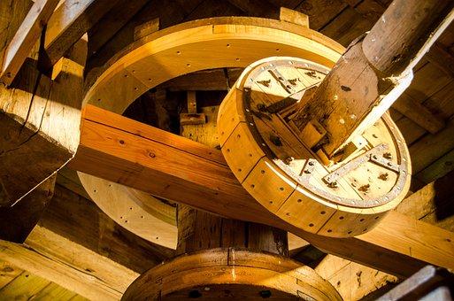 Worn, Wood, Mill, Historic, Round, Mechanism, Craft