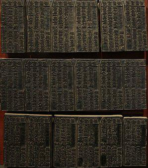 Chinese, Blocks, Printing, Characters, Black, Antique