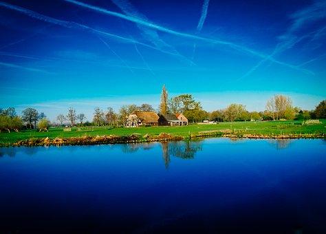 Farm, River, Coutryside, Landscape, Nature, Rural
