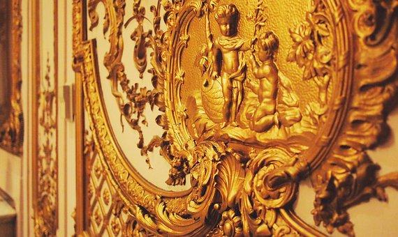 Gold, Decor, Interior, Decorated, Panels, Design, Room