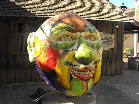 Mask, Man, Face, San Diego, Sculpture, Art