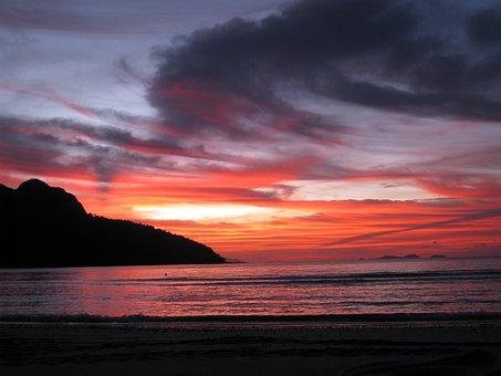 Sunset Hawaii, Sunset Over Sea, Ocean, Sea, Sunset
