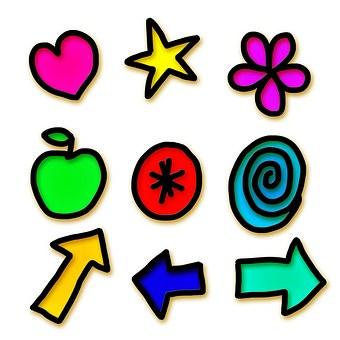 Icons, Symbols, Shapes, Set, Collection, Gel, Pictogram