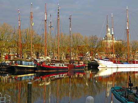 Enkhuizen, Netherlands, Ships, Boats, Sky, Clouds