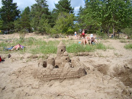 Castle, From Sand, River Bank, Summer, Sun