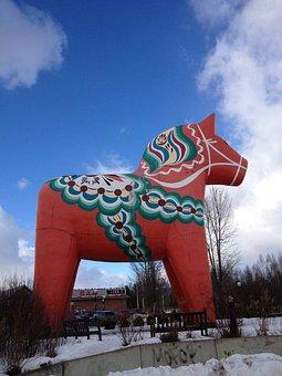 Dalahorse, Horse, Red, The Valleys, Sweden Symbol