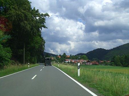 Germany, Motorway, Clouds, Countryside, Road, Village