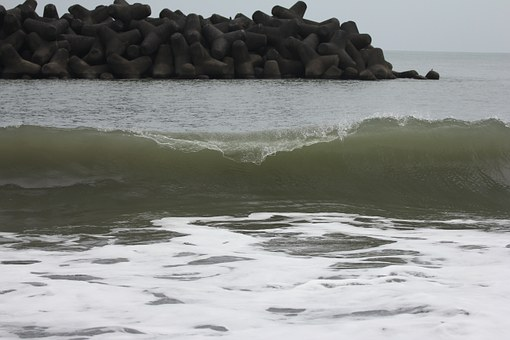 Waves, Green, Japan, Ocean, Jetty, Water, Sea, Barrel