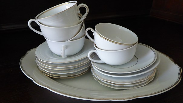 Tableware, Porcelain, Gold Edge, White, T, Dowry