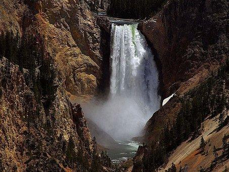 Falls, Lower, Yellowstone, Waterfalls, Landscapes