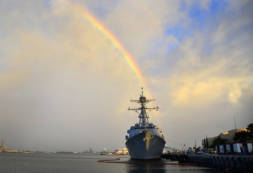 Pearl Harbor, Hawaii, Battleship, Navy, Rainbow, Sky