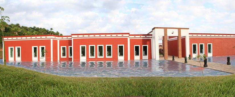 Field, Building, Pool, Sky, Clouds, Blue, Landscapes