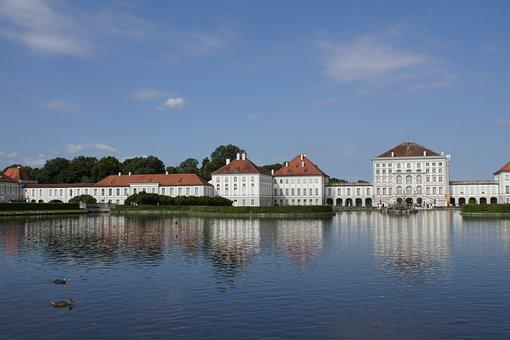 Munich, Lake, Mirroring, Bavaria, Castle Nymphenburg