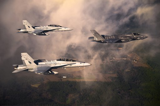 Marine Corps, Fighter Jets, Sky, Clouds, Military