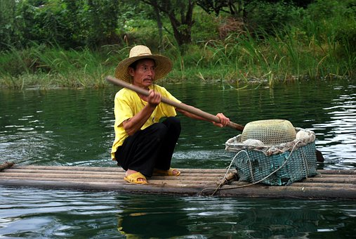 Fisherman, Float, Man, Boater, Navigate, Chinese