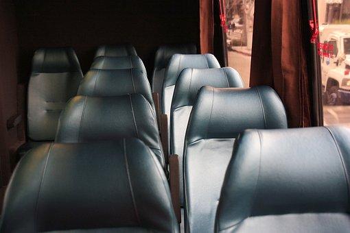 Bus, Bench, Leather, Tour Desk, Light, Blank, Blue