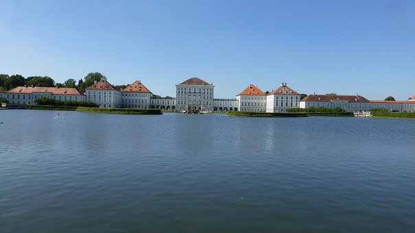 Bavaria, Castle Nymphenburg, Munich, Water, Lake, Sky