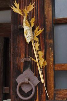 Old Door, Fish, Leaves, Traditional, Rustic