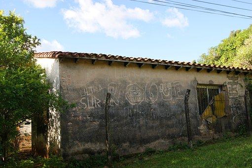 House, Old, Sky, Overshadowed, Blue, Tree, Paraguay