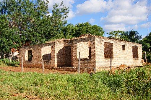 House, Ruin, Tree, Meadow, Sky, Overshadowed, Paraguay