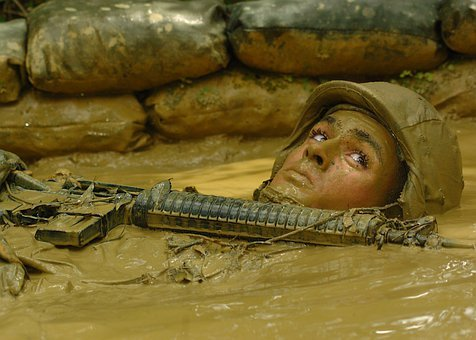Okinawa, Japan, Mud, Sand Bags, Rifle, Navy, Military