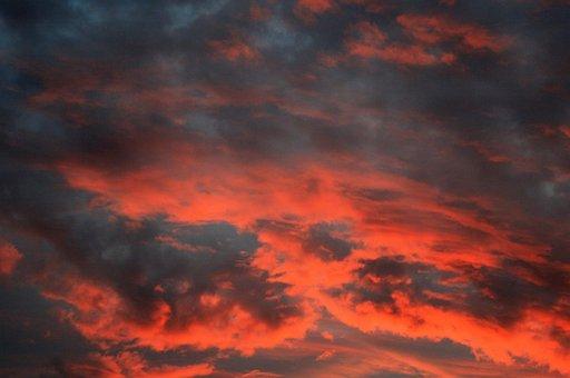 Sky, Clouds, Red, Orange, Sunset, Glow, Gleam
