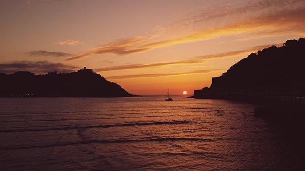 Sea, Sunset, Ocean, Bay, Calm, Quiet, Twilight, Beach