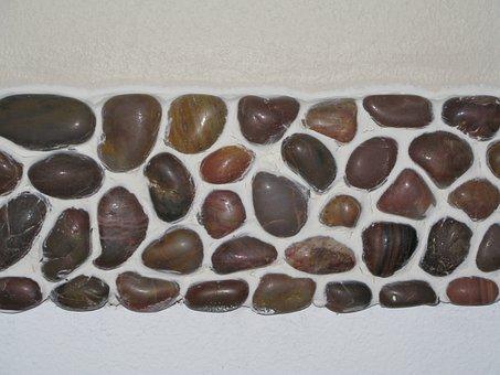 River Rock, Brown, White, Caulk, Mosaic, Tile, Natural