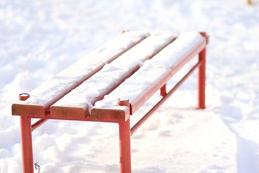 Bench, Red, Winter, Snow, Winter Morning