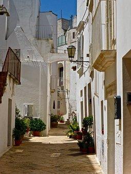 Alley, Residential, Narrow, Backstreet, Urban, White