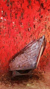 Biennale, Venice, Boat, Japan, Red, Art, Modern, Key